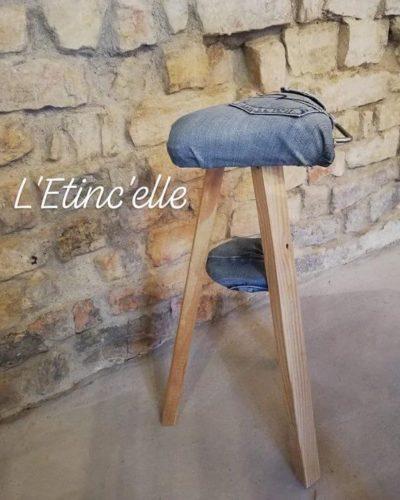 Tabouret en Jeans et bois