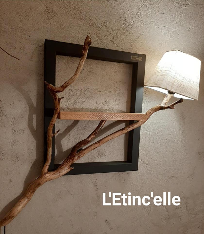 Lampe cadre bois